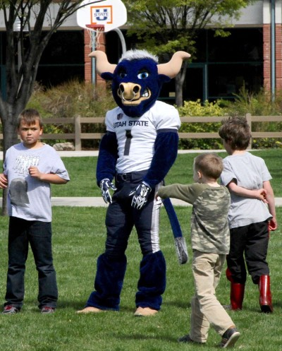 Big Blue Plays Kickball at Little Blue's After School Club | CEHS