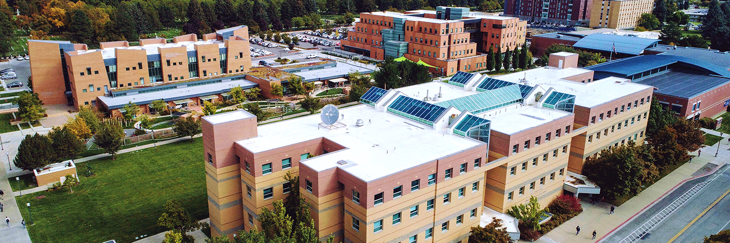 Aerial view of Emma Eccles Jones College of Education & Human Services buildings at USU